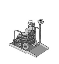 man in wheelchair being weighed